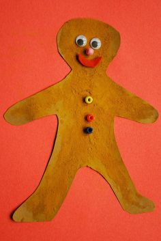 Shaking cinnamon onto a paper gingerbread man adds fun and smells like the holidays (includes link to free printable).  There are also paperclip angels, a snowman craft, how to make a dollar bill wallet and more on Capri + 3  & Caution! Twins at Play! : Artsy Play Wednesday