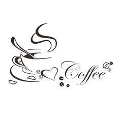 Wandtattoo Kaffee Tasse Coffee Spruch Herz Mokka Wandaufkleber Küche Café Deko M