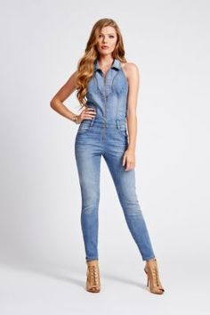 Halter Denim Jumpsuit in Picture Show Wash | GUESS.com