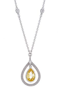 Sterling Silver Canary Crystal Teardrop Pendant Necklace by Judith Ripka on @HauteLook