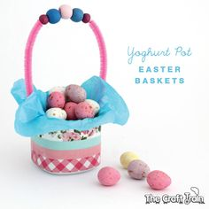 These little Easter baskets are so cute and they are made out of yoghurt containers. What a great upcycle!