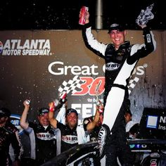 Kevin Harvick celebrates his win at Atlanta for jrmotorsports.