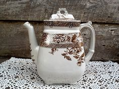Brown Transferware Tea Pot Aesthetic by CottonCreekCottage on Etsy