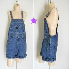 Women Overalls Denim Overall Shorts Dungarees by TheVilleVintage, $33.49