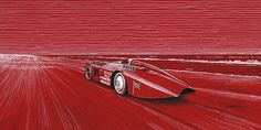 """1000 HP Sunbeam - Henry Segrave - Land Speed Record - 203.79 mph - Daytona Beach, Florida - March 29th, 1927  Pen & ink and markers on 16""""x 8"""" red archival paper © Paul Chenard 2017"""
