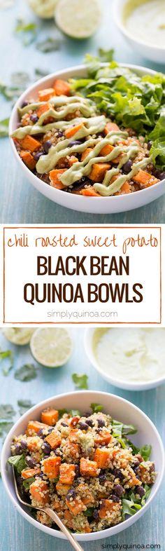 Chili Roasted Sweet Potato + Salad Recipe: Black Bean Quinoa Salad w/ a creamy…