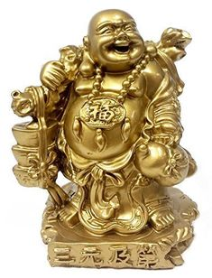 Golden Happy Buddha Laughing Buddha Feng Shui for Money and Wealths *** For more information, visit image link. Buddha Statue Home, Buddha Art, Buddha Statues, Amitabha Buddha, Maitreya Buddha, Buddha Sculpture, Lion Sculpture, Feng Shui Tattoo, Laughing Buddha Tattoo