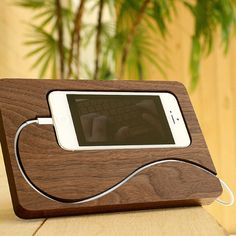 Wooden iPhone dock station by SanMecco on Etsy, $72.00