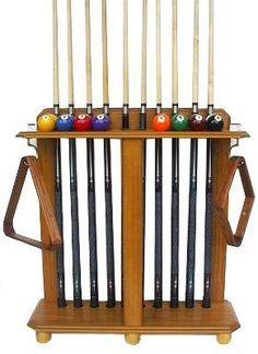 Beau 10 Pool Cue Billiard Stick Floor Rack   Holder Oak Finish By Iszy Billiards.  $67.45