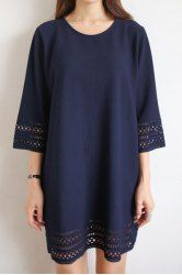 Casual 3/4 Sleeve Round Neck Hollow Out Women's Dress