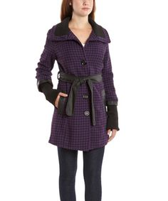 Take a look at this Purple & Black Houndstooth Trench Coat on zulily today!