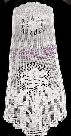 Floral filet crochet table runner