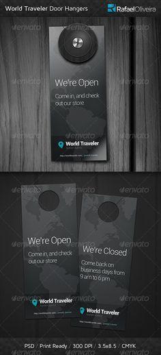 World Traveler Door Hangers — Photoshop PSD #simple #elegant • Available here → https://graphicriver.net/item/world-traveler-door-hangers/4691316?ref=pxcr
