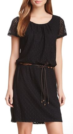 Belted Lace Dress in Black