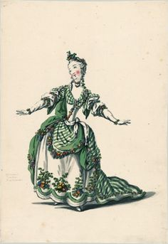 Drawings and sketches of costumes for the opera in Paris and Versailles from 1739 to 1767