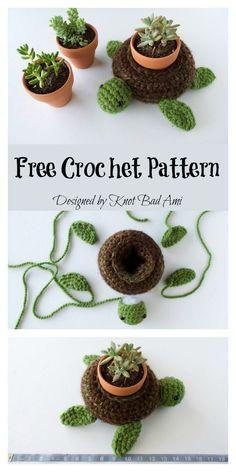 Crochet Amigurumi Ideas World Turtle Succulent Holder Free Crochet Pattern Cactus En Crochet, Crochet Flowers, Crochet Cactus Free Pattern, Crochet Home, Cute Crochet, Crotchet, Knit Crochet, Crochet Cats, Crochet Birds