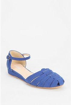 cerulean sandals {UrbanOutfitters > Cooperative Canvas Ankle Strap Skimmer}