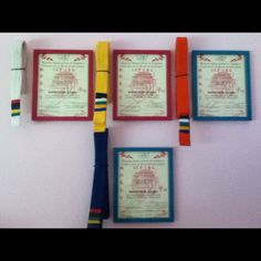 Karate belt and certificate display
