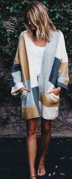 #fall #trending #outfits | Plaid Cardi + Basics