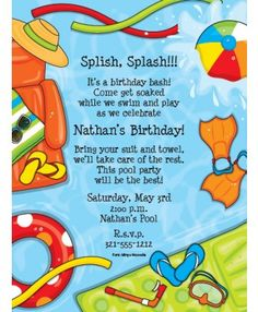 Summer Splash Pool Party Invitations