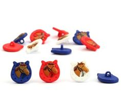Kinderknopf REITERGLÜCK, Pferdekopf im Hufeisen, 3 Farben