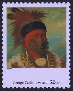 "United States Scott #3235k (21 Aug 1998) ""The White Cloud, Head Chief of the Iowas"" by George Catlin.  Text on the back of the stamp: ""George Catlin (1796-1872) was a prolific early painter of Native Americans, showing their varied dress, customs, and regional distinctions. ""The White Cloud, Head Chief of the Iowas"" from the 1840s, was one of hundreds recording the proud and heroic features of individuals and tribes across the country. NATIONAL GALLERY OF ART, Washington, D.C."""