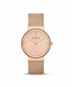 Rose gold mesh Skagen watch. Git it.
