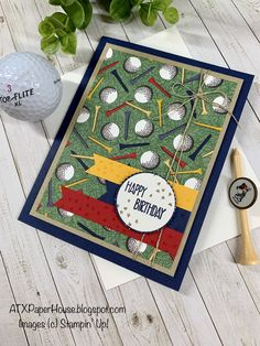 Create a card for that special golfer in your life with Stampin' Up!'s Country Club DSP Golf Birthday Cards, Handmade Birthday Cards, Greeting Cards Handmade, Masculine Birthday Cards, Masculine Cards, Golf Cards, Stamping Up Cards, Fathers Day Cards, Card Tutorials