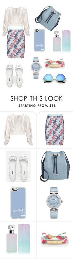 """blue fashion"" by manisninis ❤ liked on Polyvore featuring Martha Medeiros, Manon Baptiste, Dune, INC International Concepts, Casetify, OMEGA, Calvin Klein and Kate Spade"