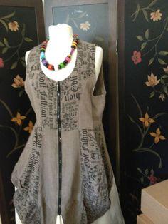 Lagenlook Newspaper Print Linen Dress | eBay
