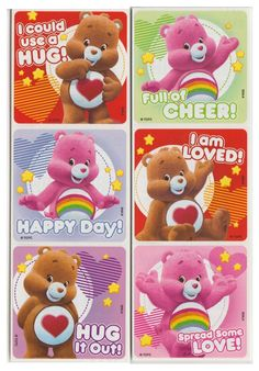 """25 Care Bears Love And Cheer Stickers, 2.5"""" X 2.5"""" Each, Party Favors"""