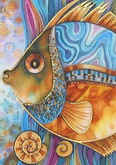"""Lyudmyla Sobol-batik. Батик """"Рыбец"""" - натуральный шелк, handmade, batik, авторская работа, рыба http://hiero.ru/2213959"""