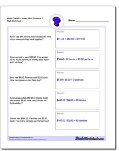 Mixed Operation Money Word Problems Worksheet 1 #Money #Word #Problems #Worksheet