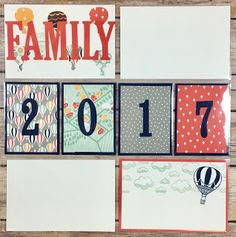 Stampin' Up!'s Carried Away Sale a Bration Designer Paper!  This project is a Project Life/Memory Keeping Page for Family 2017!  I die cut the letters and stamped the clouds and hot air balloon on the bottom right.  Check out the supply list on the blog!  #stampinup #stamptherapist www.stampwithjennifer.blogspot.com