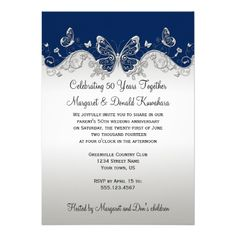 Navy Silver Butterflies 25th Anniversary Custom Announcements Wedding Anniversary Invitations, Floral Wedding Invitations, 25th