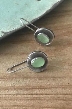 Gem Earrings, Green Aquamarine, Green Stone Earrings, Simple Earrings, Oxidized Silver Earrings