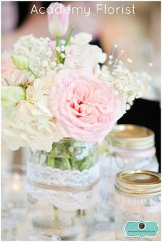 Beautiful bouquets (w/dusty miller and babies breath) and cute cake table- dresser