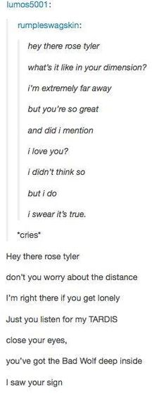 """Hey There, Delilah"" Doctor Who edition. EXCUSE ME WHILE I CRY"