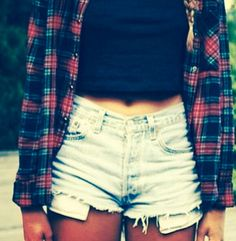 High wasted shorts with a flannel.. To cute
