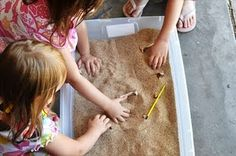 """Dinosaur"" Excavation for Kids Try out your paleontology skills with this activity! Supplies: Books about dinosaurs/paleontologists Chicken bones Container of sand Tweezers (if desired) Paint brush Dinosaur Activities, Dinosaur Crafts, Outdoor Activities For Kids, Kid Activities, Preschool Dinosaur, Classroom Activities, Kid Crafts, Dinosaur Dig, Dinosaur Fossils"