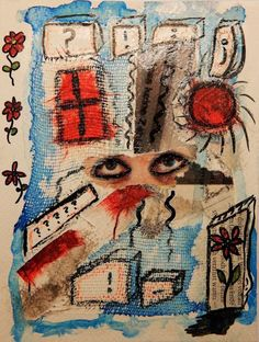 Decisions Decisions by mimuluxART on Etsy Dark Art, Collage Art, Vintage World Maps, My Etsy Shop, Art Prints, Handmade Gifts, Artist, Artworks, Painting