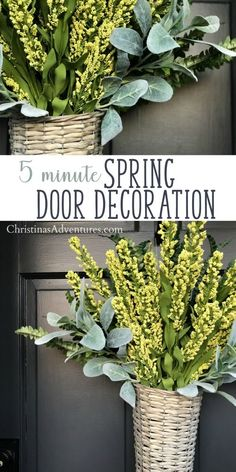"""Say """"Hello!"""" to spring with this easy DIY floral door decoration from Christina Maria. This is such a simple and quick way to create a beautiful entrance to your home, starting with the front door. All you need is a basket and some pretty flowers or greenery to make this farmhouse style door decor. This is also a unique alternative to a front door wreath or traditional door hanger! Video tutorial included.#christinamaria #frontdoordecor"""
