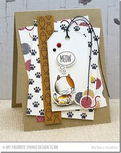 BB I Knead You Stamp Set, BB I Knead You Die-namics, Paw Prints Background, Stitched Traditional Tag STAX Die-namics - Barbara Anders  #mftstamps