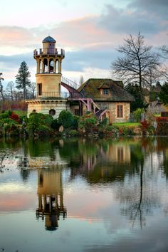 Le Hameau, Malborough Tower at Sunset. Versailles, France