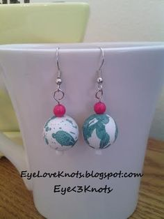 Lightweight Round White and Green Splatter Dangle Earrings. Perfect for Sensitive Ears - Hypoallergenic! Sterling Silver Option Available!!