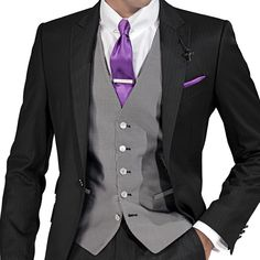 Pure silk jacquard waistcoat with mother of pearl buttons, purple satin tie with matching handkerchief, ONGala tie clip and cross pendant.
