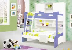 """Bunk Bed Model 1301  Dimensions: Twins bed:  Upper mattress 75""""x39"""" Lower mattress 75""""x47""""  Colour Options 1) White and Blue 2) White and Pink  Price : Rs.54,500/- visit http://kidsfurnitureworld.in/bunk-beds.html"""