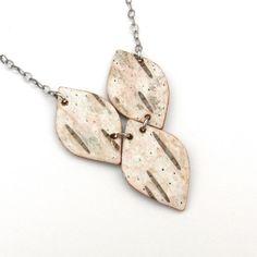 Birch bark necklace Drops by bettula on Etsy