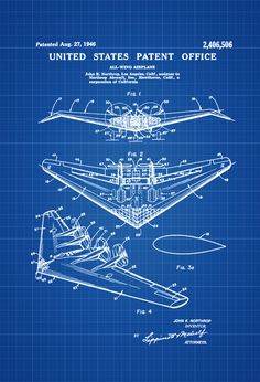 Northrop All Wing Airplane Patent - Vintage Airplane Airplane Blueprint Airplane Art Pilot Gift  Aircraft Decor Airplane Poster by PatentsAsPrints