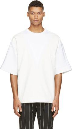 Juun.J Off-White Coated Knit Oversized T-Shirt